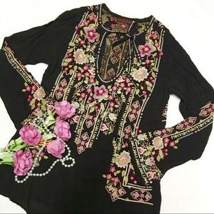 Johnny Was Embroidered Georgette Tunic Blouse/ Top